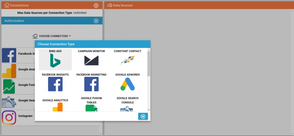 A screenshot showing where Deftly allows you to sync your digital marketing data with a variety of data connectors.